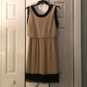 Tan and black dress